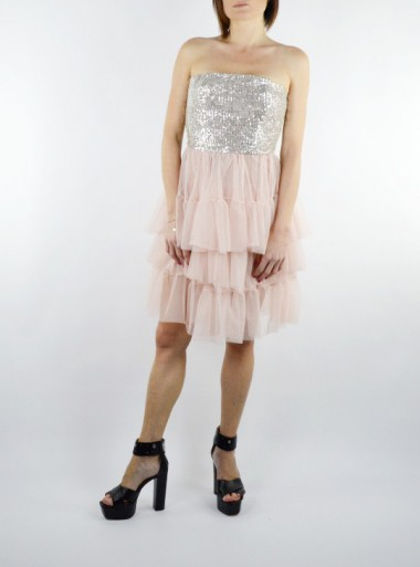 "SHORT DRESS IN SEQUINS AND TULLE ""TEBE"""