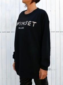 TwinSet FELPA CON LOGO E RICAMO - 202TP2660 - Tadolini Abbigliamento