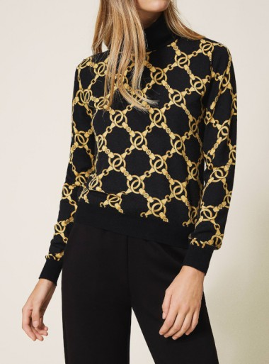 TURTLENECK WITH CHAIN PRINT