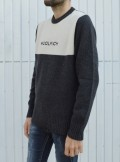 WOOL CREWNECK COLOR BLOCK SWEATER
