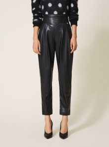HIGH WAIST FAUX LEATHER TROUSERS