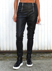 FAUX LEATHER LEGGINGS WITH SIDE BANDS