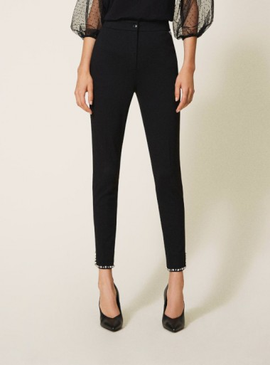 CIGARETTE TROUSERS WITH EMBROIDERIES