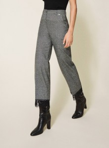 CROPPED WOOL TROUSERS WITH LACE