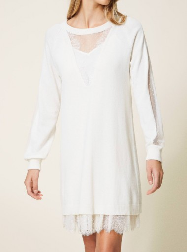 WOOL BLEND DRESS WITH SLIP