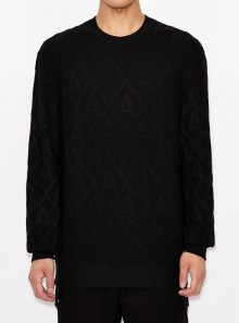 ALL-OVER LOGO ROUND NECK SWEATER