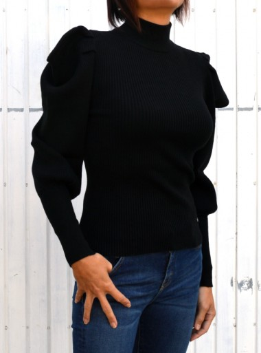 HIGH NECK SWEATER WITH PUFF SLEEVES Maverik