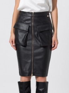 FAUX LEATHER PENCIL SKIRT Denetir