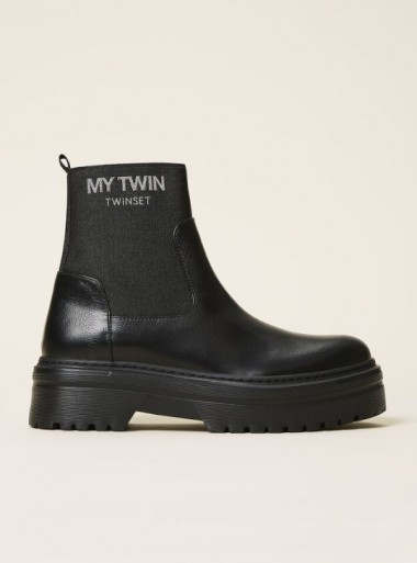 FAUX LEATHER BOOTS WITH SOCK AND LOGO