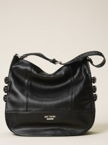 FAUX LEATHER HOBO BAG WITH STRAPS