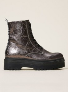 LAMINATED FAUX LEATHER COMBAT BOOTS WITH LOGO