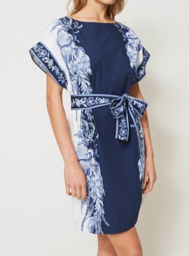 POPELINE DRESS WITH PRINT