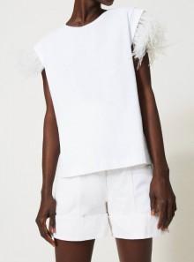 TWINSET Milano T-SHIRT CON PIUME - 211TT2420 - Tadolini Abbigliamento