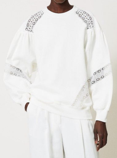 SWEATSHIRT WITH LACE INLAYS