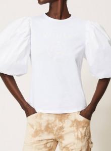 TWINSET Milano T-SHIRT CON STAMPA LOGO GLITTER - 211TT2513 - Tadolini Abbigliamento