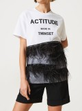 RHINESTONE AND FEATHER T-SHIRT