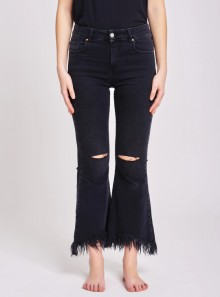 BOOTCUT RIPPED JEANS