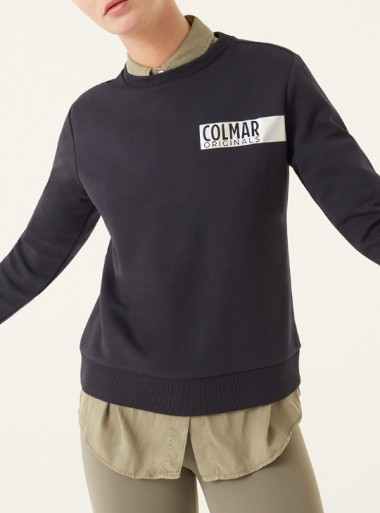 SLIM FIT SWEATSHIRT WITH HOLOGRAPHIC TEXT