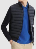 QUILTED TRAK JACKET WITH KNIT SLEEVES