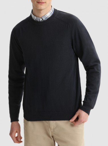 Woolrich MAGLIA GIROCOLLO IN COTONE MISTO LINO TINTO IN CAPO - CFWOKN0106MRUF0448 3989 - Tadolini Abbigliamento
