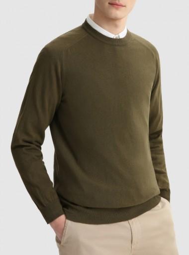 Woolrich MAGLIA GIROCOLLO IN COTONE MISTO LINO TINTO IN CAPO - CFWOKN0106MRUF0448 6291 - Tadolini Abbigliamento
