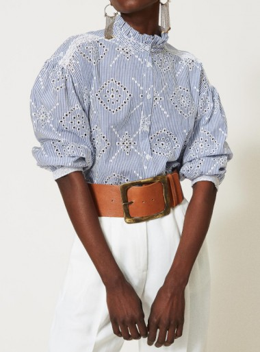 POPLIN SHIRT WITH BRODERIE ANGLAISE