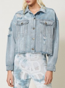 DENIM JACKET WITH BEZEL FRINGES