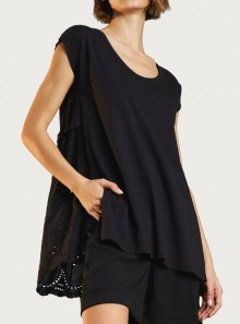 MAXI T-SHIRT WITH BRODERIE ANGLAISE