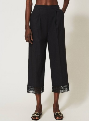WIDE FIT POPLIN TROUSERS WITH LACE