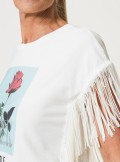T-SHIRT WITH PRINT AND FRINGES