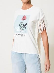 TWINSET Milano T-SHIRT CON STAMPA E FRANGE - 211MT2501 - Tadolini Abbigliamento