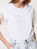 TWINSET Milano T-SHIRT CON LOGO E MANICHE IN PIZZO - 211TT2231 - Tadolini Abbigliamento