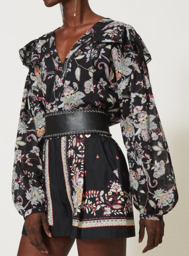 MUSLIN BLOUSE WITH FLORAL PRINT