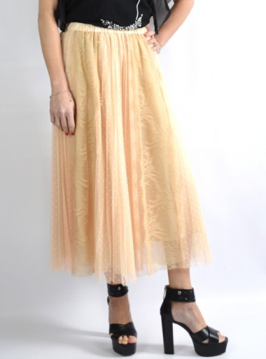 TULLE SKIRT WITH LACE INSERTS