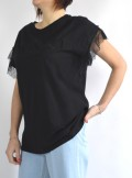 T-SHIRT WITH LOGO AND LACE SLEEVES