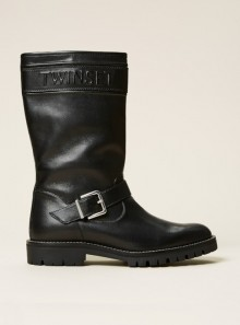 LEATHER BIKER BOOTS WITH LOGO