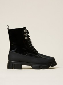 PATENT LEATHER COMBAT BOOTS