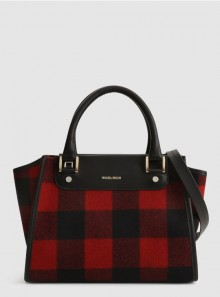 WOOL TOTE BAG WITH CHECK PATTERN