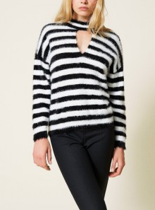 STRIPED JUMPER WITH CUT-OUT