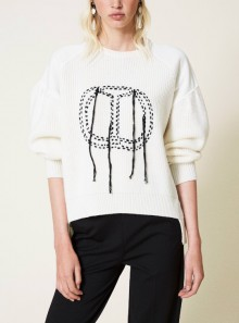 JUMPER WITH PLUSH FABRIC SLEEVES AND LOGO