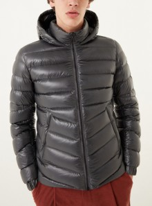 GLOSSY DOWN JACKET WITH FIXED HOOD