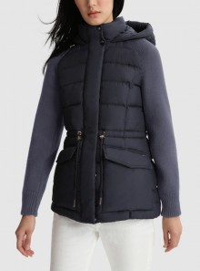 AUBURN QUILTED JACKET WITH KNITTED SLEEVES
