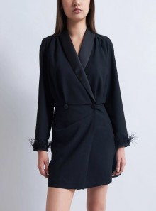 COAT DRESS WITH FEATHERS