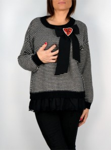 STRIPED TWO-TONE JUMPER WITH LACE