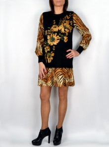 TIGER PRINT DRESS WITH FLOWERS