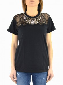 COTTON T-SHIRT WITH LACE AND RHINESTONES