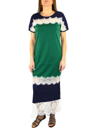 COLOUR BLOCK JERSEY LONG DRESS