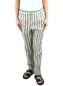 TWO-TONE STRIPED LINEN TROUSERS