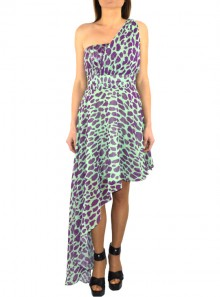 ASYMMETRIC MONOFALL DRESS WITH ANIMALIER FANTASY Bonaventura