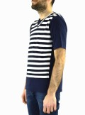 Daniele Alessandrini T-SHIRT ROSSIEUR A RIGHE BICOLORE M6837E6433900 - Tadolini Abbigliamento